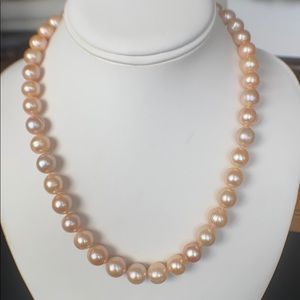 10mm NATURAL Peach Pearls Hand Knotted 14K GF